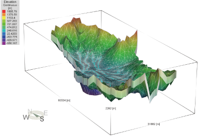 【Fig. 1】Three-dimensional groundwater-flow and heat-transport model in the Aizu Basin