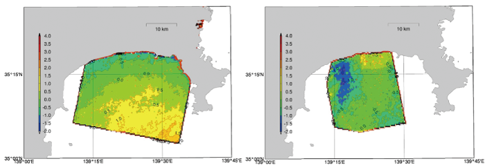 【Fig. 3】Difference between measured value from an ocean observation tower (1 km offshore) and retrieved SAR wind speed (Hiratsuka)