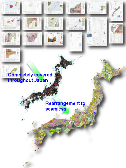 The completion of the 1:200,000 geologic maps in all of Japan and the rearrangement of them to form a seamless geologic map figre