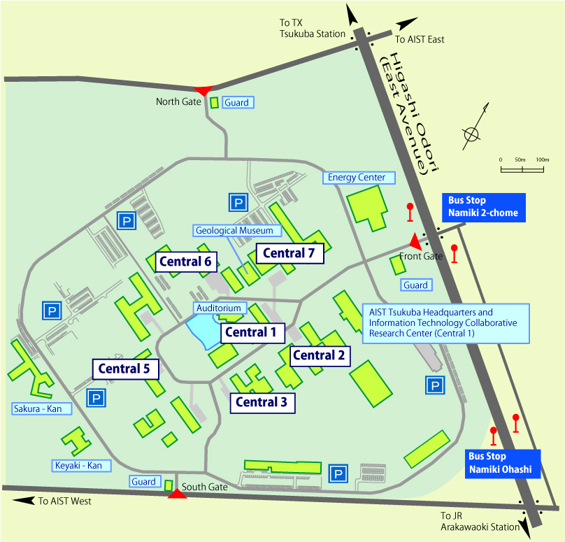 AIST Tsukuba Central Guide Map