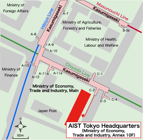 AIST Tokyo Headquarters Map Image