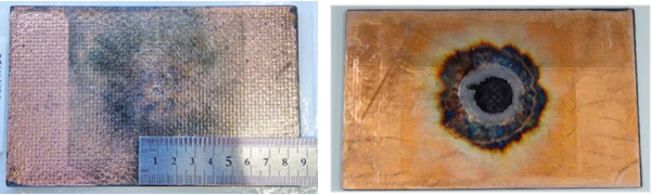 Figure: The result of a lightning strike test conducted on copper plating formed on CFRP (left) and the result of a lightning strike test for comparison conducted on copper foil of the same thickness affixed to CFRP (right)