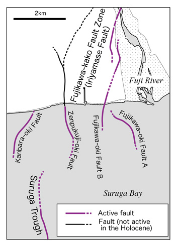 Figure of Distribution of the active faults in the coastal area of the Fujikawa River, and the positional relationship between them and the Suruga Trough.