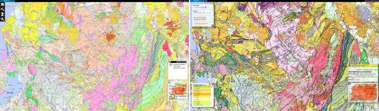 Image:Comparison between the old (left) and new (right) 1:200,000 Seamless Digital Geological Maps of Japan (Example shows the Chubu region)