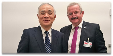 Photo: AIST President Chubachi (left) and FhG President Neugebauer (right) at the meeting.