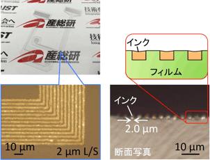 試作した高密度微細配線の図