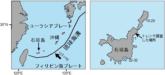 左は石垣島と琉球海溝の位置,右は古文書記録に基づく1771年八重山津波(明和津波)の遡上高の推定値(単位はm)の図