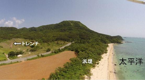 砂質津波堆積物の見つかったトレンチの写真