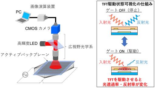 ゲート変調イメージング装置の概略と、TFTの駆動状態を可視化する仕組みの図