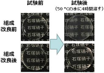 組成改良前の低融点ガラスと今回開発した組成改良ガラスの耐水性の比較写真