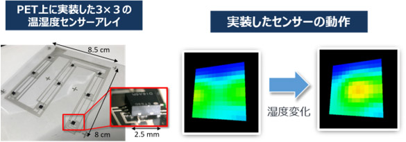 PET上に実装した温度・湿度センサーアレイの図