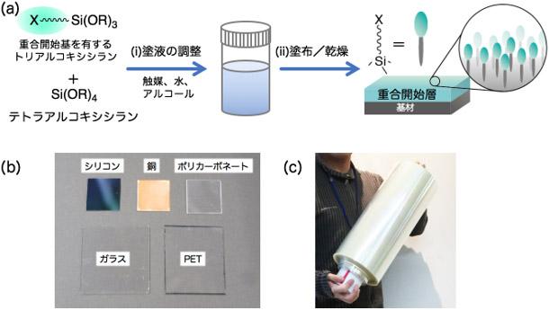 (a)今回開発した重合開始層の形成技術の概要図、(b)重合開始層を形成した各種基板、 (c)roll-to-roll方式塗工により重合開始層を形成したPETフィルムのロールの写真