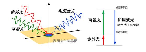和周波発生分光法(SFG分光法)の説明図
