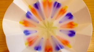 ろ紙に咲いた花の写真